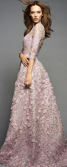 Beaded pink gown