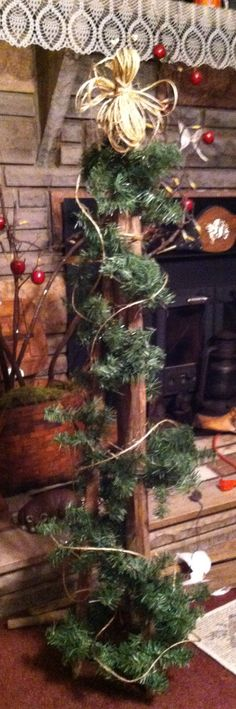 Primitive Decor Folk Art Farmhouse Christmas Tree Sampler Birds - primitive christmas decorations
