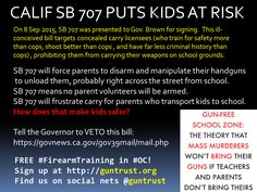 SB 707 WILL KILL KIDS. Tell the Governor to VETO it NOW: https://govnews.ca.gov/gov39mail/mail.php #tcot #2A #CCW