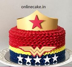 Make him or her smile! Celebrate your child's birthday party with this delicious Wonder Woman cake. We have all Marvel and DC themed cakes. Order this birthday cake online today Girl Superhero Cake, Superhero Birthday Cake, 4th Birthday Cakes, Birthday Cakes For Women, Wonder Woman Birthday Cake, Wonder Woman Cake, Wonder Woman Party, Bolo Do Superman, Buttercream Birthday Cake