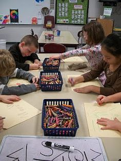 teaching art (K) through the use of centers, would love to try this