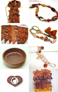 A Little Spice by Patricia from RitzyandGlitzy on Etsy--Pinned with TreasuryPin.com  #etsy #handmade #gifts #spice #orange #gold #bronze #copperbracelet #charmbracelet #handmadescarf #heartdogdish #scissorfob #bunting #originalart #initials #handmadejewelry #dishes #bowties