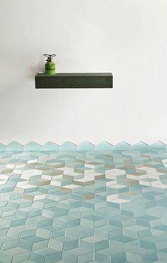 Beautiful modern geometric tiles in ocean blues