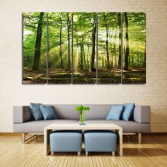 Sunlight Forest Print Unframed Canvas Paintings - GREEN 5PCS:12*31 INCH( NO FRAME )