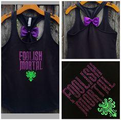 Foolish Mortal Haunted Mansion Bow Back Tank Top, Disney Inspired, Disneyland, Hitchhiking Ghosts, Glitter