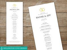 Editable Wedding ceremony program for Microsoft Word. Printable DIY. Wedding planning ideas, bride and groom rings theme.