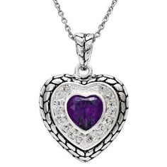 Silver Purple CZ heart Pendant at JCPenney