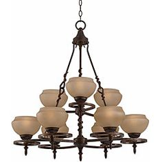 @Overstock - This beautiful Gibson chandelier features an English bronze finish. The hand blown Scavo glass adds a romantic touch to this lighting fixture.http://www.overstock.com/Home-Garden/Gibson-9-light-English-Bronze-Chandelier/5207298/product.html?CID=214117 $322.99