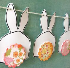 Bunny Butts Bunting  pink and yellow tails by psitsinthedetails, $25.00