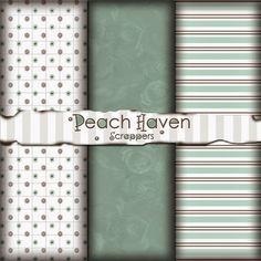 Peach Haven Scrappers: Free Digital Scrapbook Paper Pack: Simply Mint
