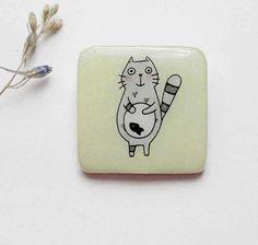 FREE SHIPPING Cat magnet gift Animal fridge magnet by Dinabijushop