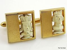 Fun pair for a chess tournament! Vintage Swank Chess Pieces Cufflinks of the King and Queen | The Tie Chest