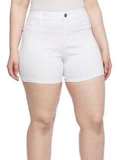 Plus Size Solid Five Pocket Shorts