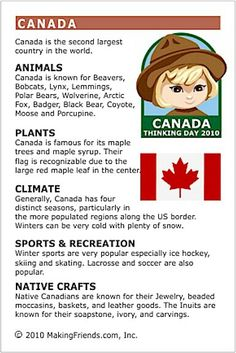 MakingFriends Facts about Canada Printable Thinking Day fact card for our passports. Perfect if you chose Canada for your Girl Scout Thinking Day or International Night celebration. Canada For Kids, O Canada, Canada Travel, Canada Day 2017, Canada Day 150, Canada Day Crafts, Canadian Things, Canadian Facts, World Thinking Day