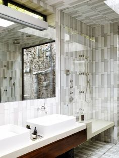 Vertical tiles will add an unexpected touch to any bathroom.