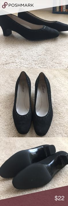 Black suede low heel pumps size 10 Black suede low heel pumps size 10. Never worn! Extremely comfortable and in perfect condition. Heel is approximately 1.5 inches Trotters Shoes Heels
