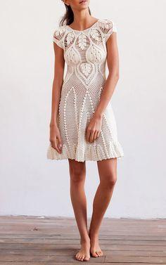 Leaf Crochet Mini Dress by HELEN RöDEL for Preorder on Moda Operandi