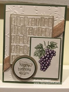 "The theme challenge for Stamp Ink Paper is ""Natural Elements"".  I had a long day so a glass of wine sounded good which made me think of the Tuscan Vineyard stamp set from Stampin'…"
