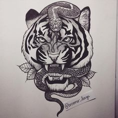 Image result for snake and tiger tattoo