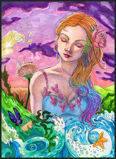Bon Voyage  Ocean wave sunset girl  Surreal Art by mtnlaurelarts, $75.00