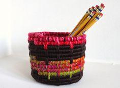 Yarn Coiled Pencil Holder Storage Basket Brown Magenta by JCstars, $28.00