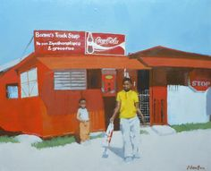 Township Trading Store  #tradingstore #township #africa #shop #streetscenes #cocacola #youth #children #spaza # oilpainting #artistsoninstagram #artsy #truckstop #figurepainting #contemporarypaintings #figurativeart