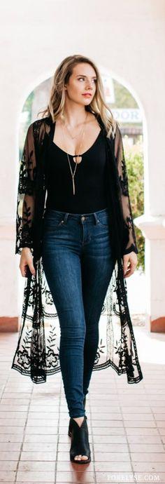 wanderlust fashion fall t - wanderlust Lace Cardigan Outfit, Black Kimono Outfit, Black Bodysuit Outfit, Black Booties Outfit, Black Lace Kimono, Black Lace Tops, Black Lace Top Outfit, Kimono Noir, Gilet Kimono