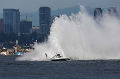 The Ellstrom Elam Plus rounds a corner during Seafair 2015. Seafair, the traditional summer Seattle festival, brings hydroplane boats to Lake Washington and aircraft to the skies above for the weekend's Boeing Air Show. Photographed on Sunday, August 2, 2015.