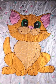 Hand Made Vintage Kitty Cat Orange Cat Quilt Cat Patwork Reversible Yarn Vintage  The Pink Room  160927 by ThePinkRoom