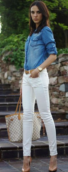 503 best white pants outfit images in 2019 White Pants Outfit, Beige Outfit, Jeans Outfit Summer, Spring Outfits, Shirt Outfit, Fashion Mode, Look Fashion, Fashion Outfits, Womens Fashion