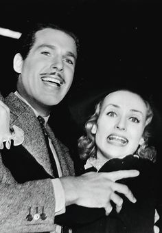 Carole Lombard and Fred MacMurray on the set of True Confession, 1937