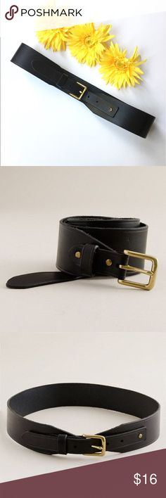 """J. Crew Dressage Belt Equestrian styled black leather belt by J. Crew.                           Designed to be worn at the waist.                                             Size small                                                                                        Measures 31"""" from buckle hook to last belt hole.                                  Width 2""""                                                                                           1"""" brass plated buckle J. Crew Accessories…"""