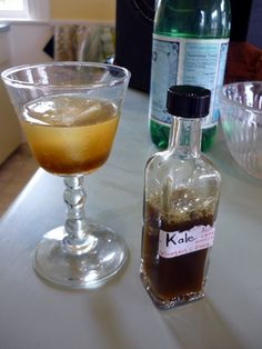 """Drinking vinegars--tart, delicious, fresh from the garden. This one's made with kale! And yes, """"shrubs"""" like this are on cocktail menus everywhere. Fun Drinks, Yummy Drinks, Beverages, Drinking Vinegar, Great Recipes, Favorite Recipes, Cocktail Menu, Healing Herbs, Pinterest Recipes"""
