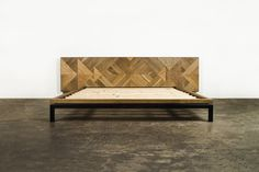 Stunning 'Drake Low Bed' with red and white oak headboard and a steel frame #furniturehunters