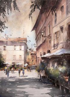 Artist Vladislav Yeliseyev watercolor rome italy