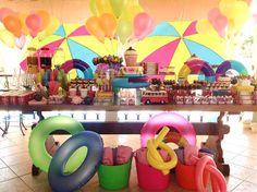 decoracao festa piscina, decoracao festa teen; mesa doces festa piscina