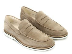 Hogan Club H262 penny loafers in beige suede leather - Italian Boutique €209