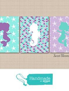 Mermaid Décor,Mermaid Sea Horse Wall Art,,Mermaid Nursery Decor,Sea Animals Bathroom Wall Art,Mermaid Bathroom,Purple Teal Mermaid Wall Art-UNFRAMED set of 3 PRINTS (NOT CANVAS)C341 from Sweet Blooms Decor https://www.amazon.com/dp/B01LZFFSJR/ref=hnd_sw_r_pi_awdo_1LSRybD1RT6TQ #handmadeatamazon