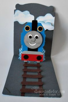 I made this card for our Grandson's 2nd Birthday. He LOVES Thomas the Train and he carried his card around part of the afternoon.