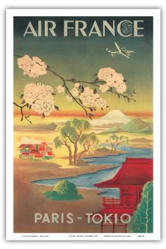 Paris Tokio (Tokyo) - Air France - Mt. Fuji And Cherry Blossoms - Vintage Airline Travel Poster c.1952 - Master Art Print - 12in x 18in Pacifica Island Art http://www.amazon.com/dp/B00E1RX7D0/ref=cm_sw_r_pi_dp_y0Cgub01MMFZZ