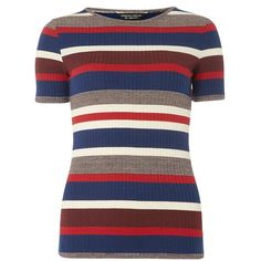 Dorothy Perkins Multi stripe rib tee ($28) ❤ liked on Polyvore featuring tops, t-shirts, multi color, striped tee, jersey tee, jersey t shirt, stripe top and stripe tee