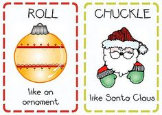 "This is a wonderful game and extends language at the same time with phrases like ""prance like a reindeer"" chuckle like Santa Claus"" and ""sneak like an elf"" Christmas action cards (printables) - Movement Activities, Gross Motor Activities, Preschool Activities, Preschool Boards, Kindergarten Themes, Holiday Themes, Christmas Themes, Holiday Fun, Christmas Traditions"