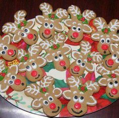 Super Cute Reindeer Cookies!!  Just Turn a Ginger Bread Man Upside Man!!  Clever!!  (***Picture Only) Cookie Cutters, Gingerbread Man Cookie Cutter, Gingerbread Reindeer, Reindeer Cookies, Christmas Cookies, Christmas Ornaments, Christmas Ideas, Cupcake Cookies, Cupcakes