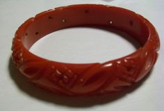 Cherry Red Bakelite Bangle Bracelet Tested Carved and Pierced