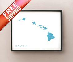 Hawaii Map Print by CartoCreative on Etsy