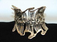 Estate Mid Century Modern Artisan open work sterling silver cuff bracelet
