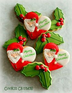 Santa in heart and holly oookies | Cookie Connection  mintlemonade