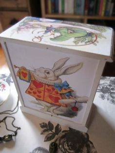 Shabby Chic Jewellery Box - Alice In Wonderland- Upcycled.