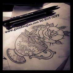 I genuinely have an appreciation for the shades, outlines, and depth. This is really a brilliant concept if you would like a Rose Tattoos, New Tattoos, Tatoos, Teapot Tattoo, Vintage Tattoo Sleeve, Tea Cup Art, Sweet Tattoos, Vintage Art Prints, Tattoo Stencils