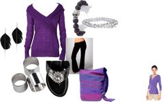 Purple and black, created by mmmsandycheeks on Polyvore